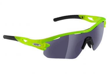 Sports glasses AZR TOUR RX CRYSTAL GREEN FLUO - GRAY MIRROR