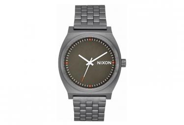 Reloj nixon time teller negro   plateado   rojo
