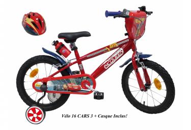 Vélo 16 '' Licence ''Cars '' Casque pour enfant de 5 à 7 ans avec stabilisateurs à molettes
