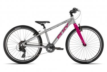 Bicicleta infantil puky ls pro 24 8 shimano tourney 8v plata   rosa 8 12 anos