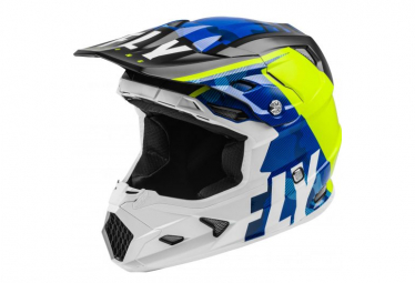 Fly Racing Toxin Transfer Mips Youth Full Face Helmet Blue Neon Yellow White