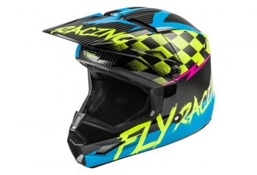 Fly Racing Kinetic Sketch Youth Full Face Helmet Blue Neon Yellow Black