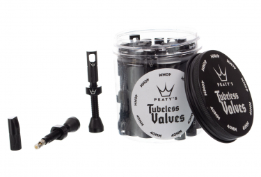 Peaty's X Chris King 40 mm Tubeless Valves (26 pieces) with Valve Core Remover Caps Black