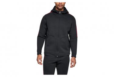 Under Armour Recover Fleece Full Zip Hoodie Sweat Black Red