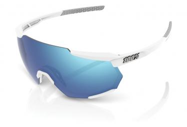 Brille 100% Racetrap Weiß Matt Hiper Blue Multilayer Lens Mirror / Weiß / Blau