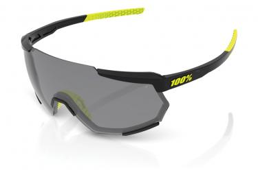 Brille 100% Racetrap Gloss Black Smoke Lens / Schwarz / Gelb