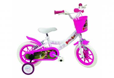 Vélo 12' Licence 'Masha et Orso' pour enfant de 3 à 5 ans avec stabilisateurs à molettes