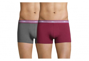 Pack 2 Boxers gris/rose homme Dim
