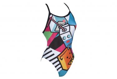 ARENA Women Swimsuit Crazy Milkshake X Criss Cross Back Black-Turquoise