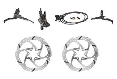 Pair of Brakes TRP Slate T4 Black with 2 TRP Rotor 29 Disc 6 Bolt
