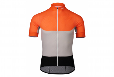 Maglia manica corta Poc Essential Road Light Granito Grigio Zink Orange