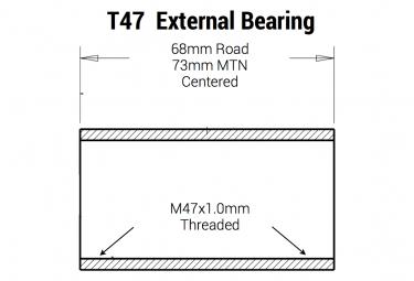 Boitier à Visser Praxis Works T47 Shimano 68/73mm Road/MTB