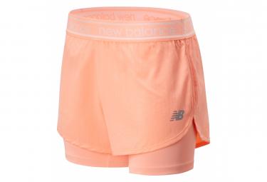 New Balance Shorts De Mujer Rosa Implacable 2 En 1 Xs