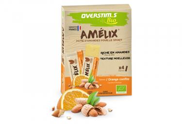 Assortiment 4 barres énergétiques Overstims Amelix Bio Orange Confite