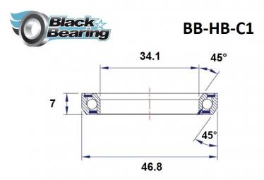 Black bearing - C1 - Roulement de jeu de direction 34.1 x 46.8 x 7 mm 45/45°