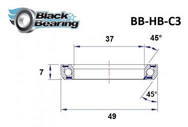 Black bearing - C3 - Roulement de jeu de direction 37 x 49 x 7 mm 45/45°
