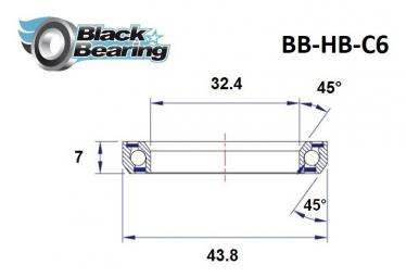 Black bearing - C6 - Roulement de jeu de direction  32.4 x 43.8 x 7 mm 45/45°