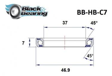 Black bearing - C7 - Roulement de jeu de direction  37 x 46.9 x 7 mm 45/45°