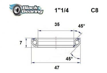 Black bearing - C8 - Roulement de jeu de direction 35 x 47 x 7 mm 45/45°