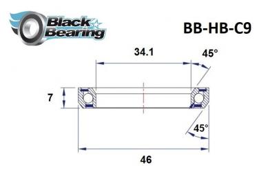 Black bearing - C9 - Roulement de jeu de direction 34.1 x 46 x 7 mm 45/45°