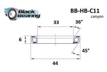 Black bearing - C11 - Roulement de jeu de direction 33 x 44 x 6 mm 36/45°