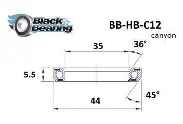 Black bearing - C12 - Roulement de jeu de direction 35 x 44 x 6.5 mm 36/45°