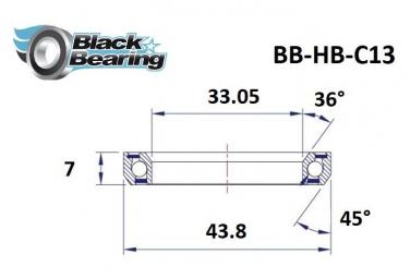 Black bearing - C13 - Roulement de jeu de direction 33.05 x 43.8 x 7 mm 36/45°