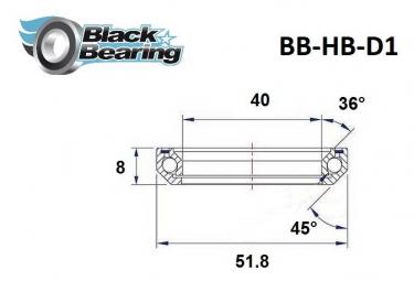 Black bearing - D1 - Roulement de jeu de direction 40 x 51.8 x 8 mm 36/45°