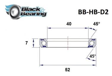 Black bearing - D2 - Roulement de jeu de direction 40 x 52 x 7 mm 45/45°