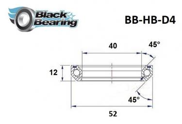 Black bearing - D4 - Roulement de jeu de direction 40 x 52 x 12 mm 45/45°