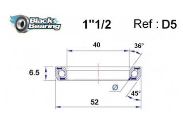 Black bearing - D5 - Roulement de jeu de direction 40 x 52 6.5 mm 36/45°