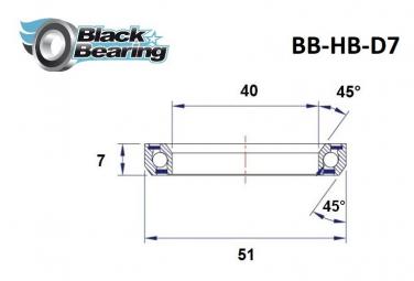 Black bearing - D7 - Roulement de jeu de direction 40 x 51 x 7 mm 45/45°