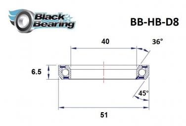 Black bearing - D8 - Roulement de jeu de direction 40 x 51 x 6.5 mm 36/45°