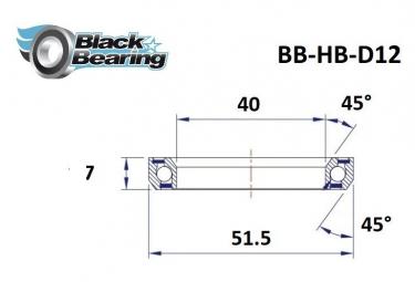 Black bearing - D12 - Roulement de jeu de direction 40 x 51.5 x 7 mm 45/45°