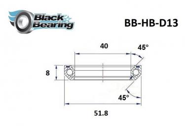 Black bearing - D13 - Roulement de jeu de direction 40 x 51.8 x 8 mm 45/45°