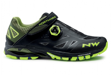 Zapatillas Mtb Northwave Spider Plus 2 Negras   Amarillo Neon 46