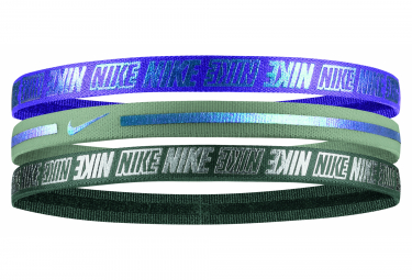 3 PACK Bandeaux Mettalic Nike 2.0 Bleu Vert