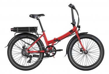 Legend Siena Vélo Electrique Pliable de Ville Smart eBike Roues de 24 Pouces, Freins Disque Hydraulique, Batterie 36V 10.4Ah Sanyo-Panasonic (374.4Wh), Rouge Strawberry
