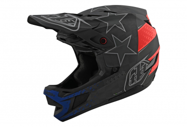 Casco Troy Lee Design D4 Carbon Mips Freedom 2.0 Nero Rosso