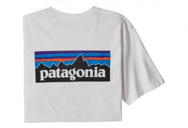 Short Sleeves Tee Shirt Patagonia P-6 Logo Responsibili-Tee White Men