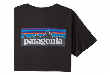 Short Sleeves Tee Shirt Patagonia P-6 Logo Organic Cotton Black Men