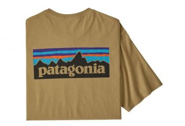 Short Sleeves Tee Shirt Patagonia P-6 Logo Organic Cotton Beige Men