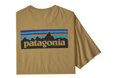 Camiseta de manga corta Patagonia P-6 Logo Algodón orgánico Beige Hombres