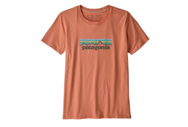 Short Sleeves Tee Shirt Patagonia P-6 Logo Organic Cotton Orange Women