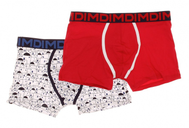 Pack 2 Boxers rouge/blanc homme Dim