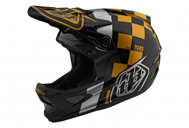 Int graler Helm Troy Lee Designs D3 Fiberlite Raceshop Schwarz / Gold
