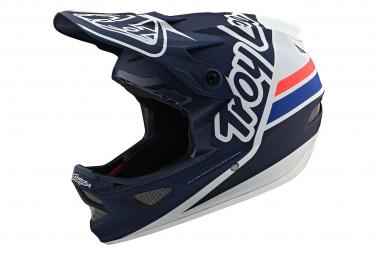 Int gral Helmet Troy Lee Designs D3 Fiberlite Silhouette Dark Blue / White