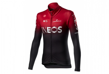 Maillot Manches Longues Castelli Thermal Team Ineos 2020 Rouge Bordeaux Noir
