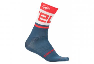 Castelli Free Kit 13 Pair of Socks Light Steel Blue Red