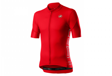 Maillot Manches Courtes Castelli Entrata V Rouge Fiery
